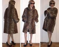 Pamela Mccoy Collections Leopard Cheetah Faux Fur Coat Retro Style 1x