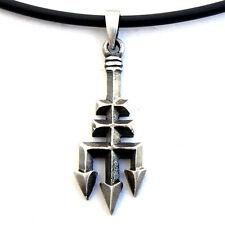 Atlantean King Triton Trident Pitchfork Atlantis Pewter Pendant W Black PVC Cord