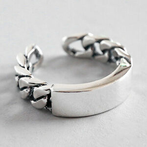 Hammered Solid 925 Sterling Silver Vintage Chain Rings for Women Fine Jewelry