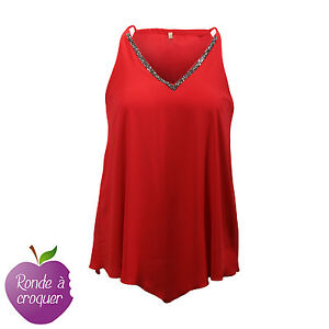 Grande-taille-Tunique-asymetrique-rouge-col-strass-034-town-034-44-46-48-50-52-54