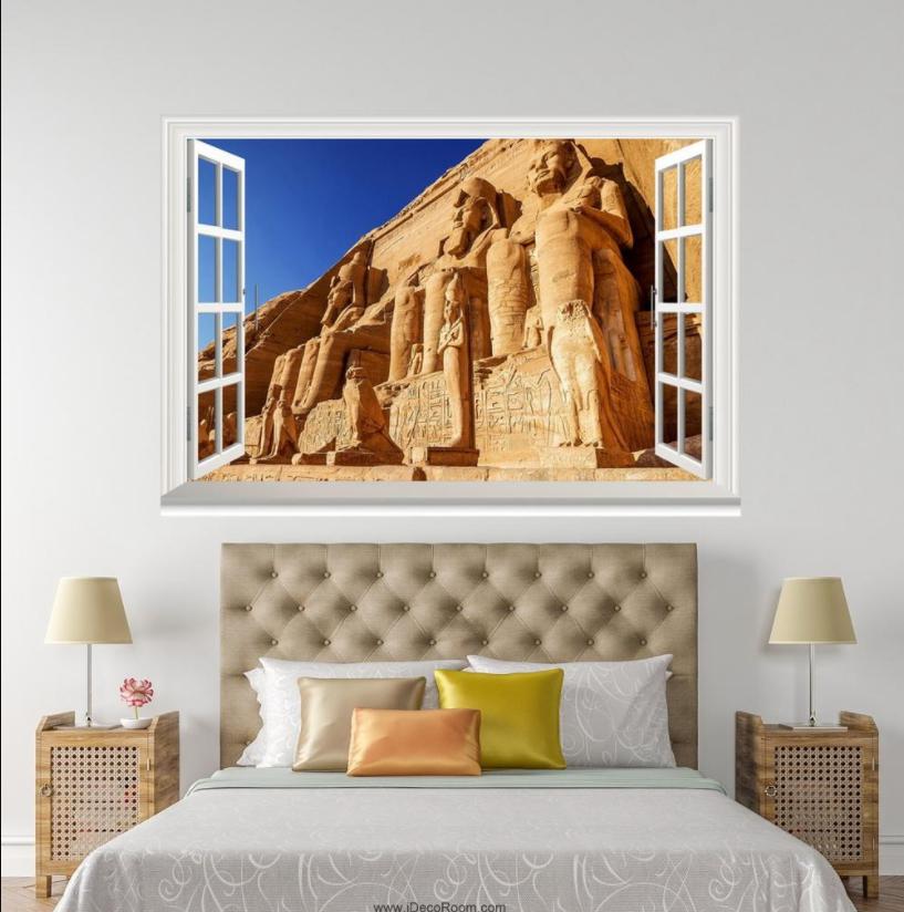 3D Stone Statue 42 Open Windows WallPaper Murals Wall Print Decal Deco AJ Summer
