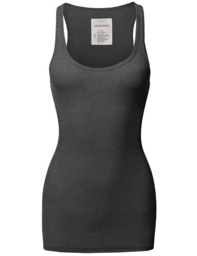 3 SET AVAILABLE! FashionOutfit Women/'s Basic Scoop Racer-Back Ribbed Tank Top
