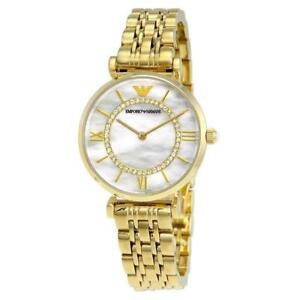 f4690bcb8ff6 NEW Emporio Armani Classic Mother Of Pearl Dial Gold S-Steel Ladies ...