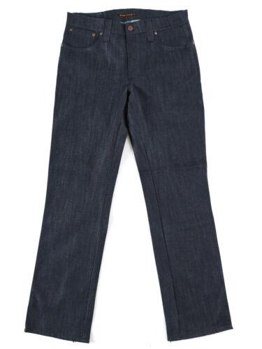 B-WARE Nudie Herren Slim Fit Raw JeansSlim Jim Dry Grey Embo W33 L32