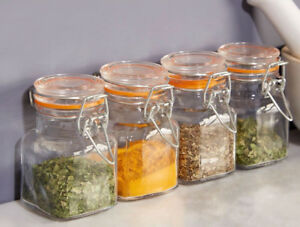 Image Is Loading Set Of Square Glass Storage Jars 90ml Clip