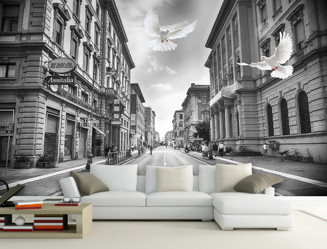 3D Retro City Pigeon 7 Wall Paper Murals Wall Print Wall Wallpaper Mural AU Kyra