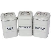 Tea Coffee Sugar Canisters Vintage Grey Enamel Kitchen Storage Jars Pots Retro