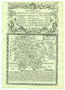 1720 Bowen Map Herefordshire Road Map Gloucestershire Monmouthshire verso