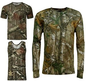 Men-039-s-Forrest-Camouflage-T-shirt-Realtree-Camo-Print-Long-Short-Sleeveless-Top