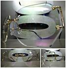 OVERSIZED VINTAGE RETRO Style Clear Lens SUN GLASSES Rimless Gold Fashion Frame