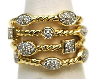 da50a6a539233 DAVID YURMAN New 18K Yellow Gold   Pave Diamond 4 Row Confetti Band ...