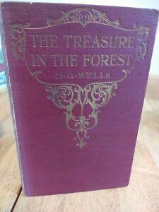 Vintage-hardback-book-The-treasure-in-the-forest-HG-Wells-pocket-size