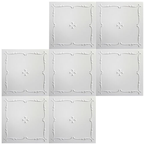 40 qm Deckenplatten Styroporplatten Stuck Decke Dekor Platten 50x50cm Nr.12