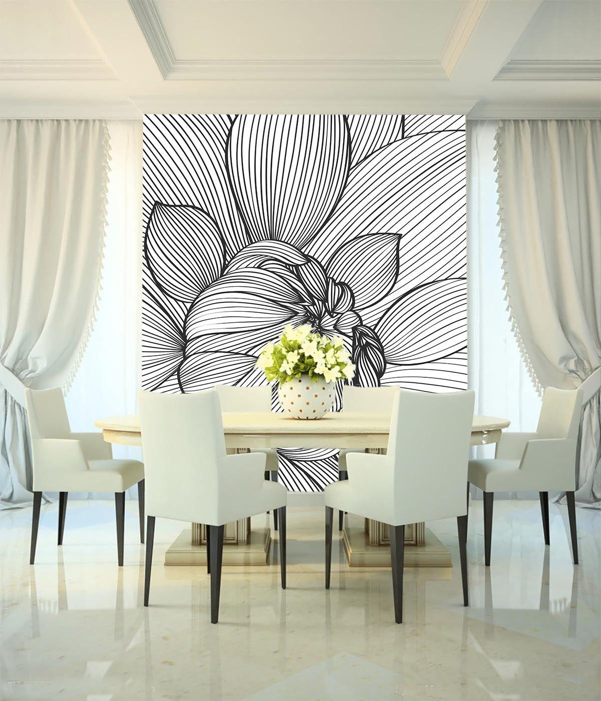 3D Abbozzo Fiori Parete Murale Foto Carta da parati immagine sfondo muro stampa