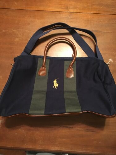 b18bc3d42585 Bag Ralph Lauren Gym Overnight Duffle Leather Green Blue Polo Accents Travel  7UPnxqdwdS