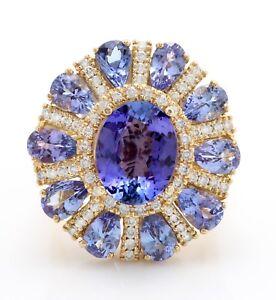 10-25-Quilate-Natural-Azul-Tanzanita-y-Diamantes-en-14K-Solido-Anillo-Oro