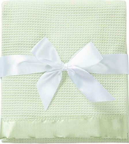 Thermal Waffle Weave Baby Blanket with Satin Nylon Trim LIKE BABY MORGAN