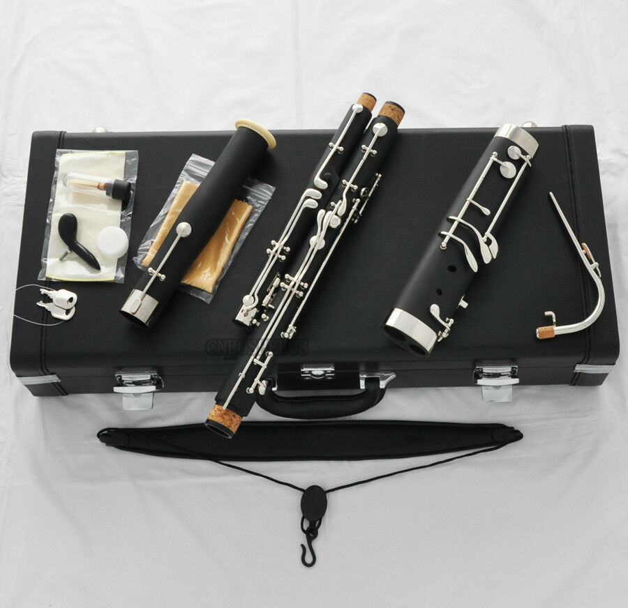 10%OFF TOP schwarz Bakelite Eb Bassoon Cutronicel bocals Silber key Leather Case
