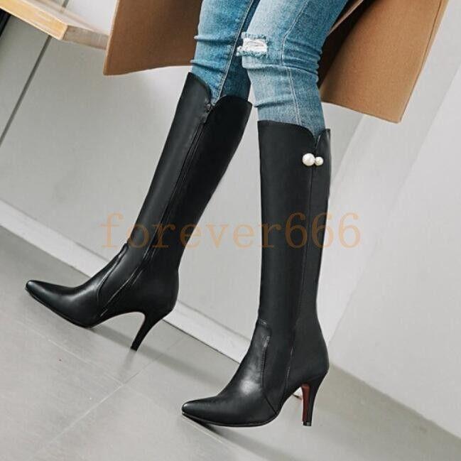 Mode Faux Damen Hohe Stiefel High Heel Elegant Faux Mode Leder Schuhe Strass gR.34-46 de82ae