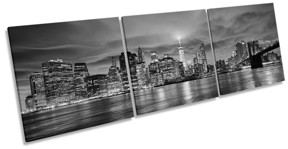 Ciudad de Nueva York Skyline Sunset BW agudos agudos agudos LONA pared arte Foto Marco De Caja 1ab9e3