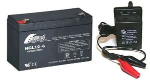 Toy Car Battery And Charger Combo 6v 12ah Battery 6 Volt Mains