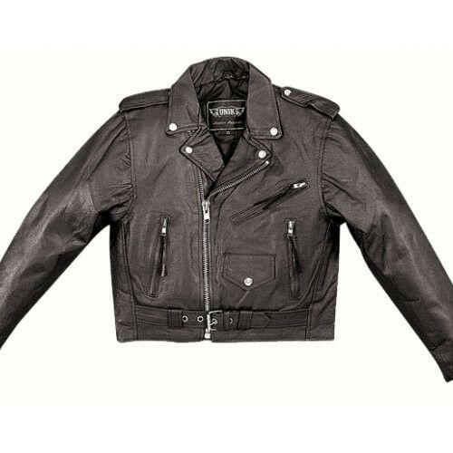 Black Leather Kids  Classic Motorcycle Jacket Childs 10 Boys Biker Coat
