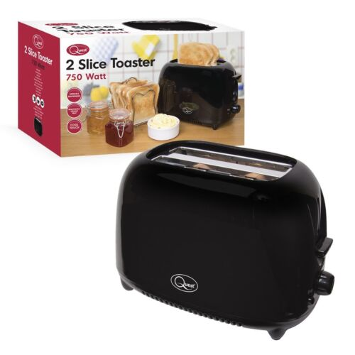 Anti-Jam Wide Slots Quest Black 2 Slice Toaster Electronic Variable Browning