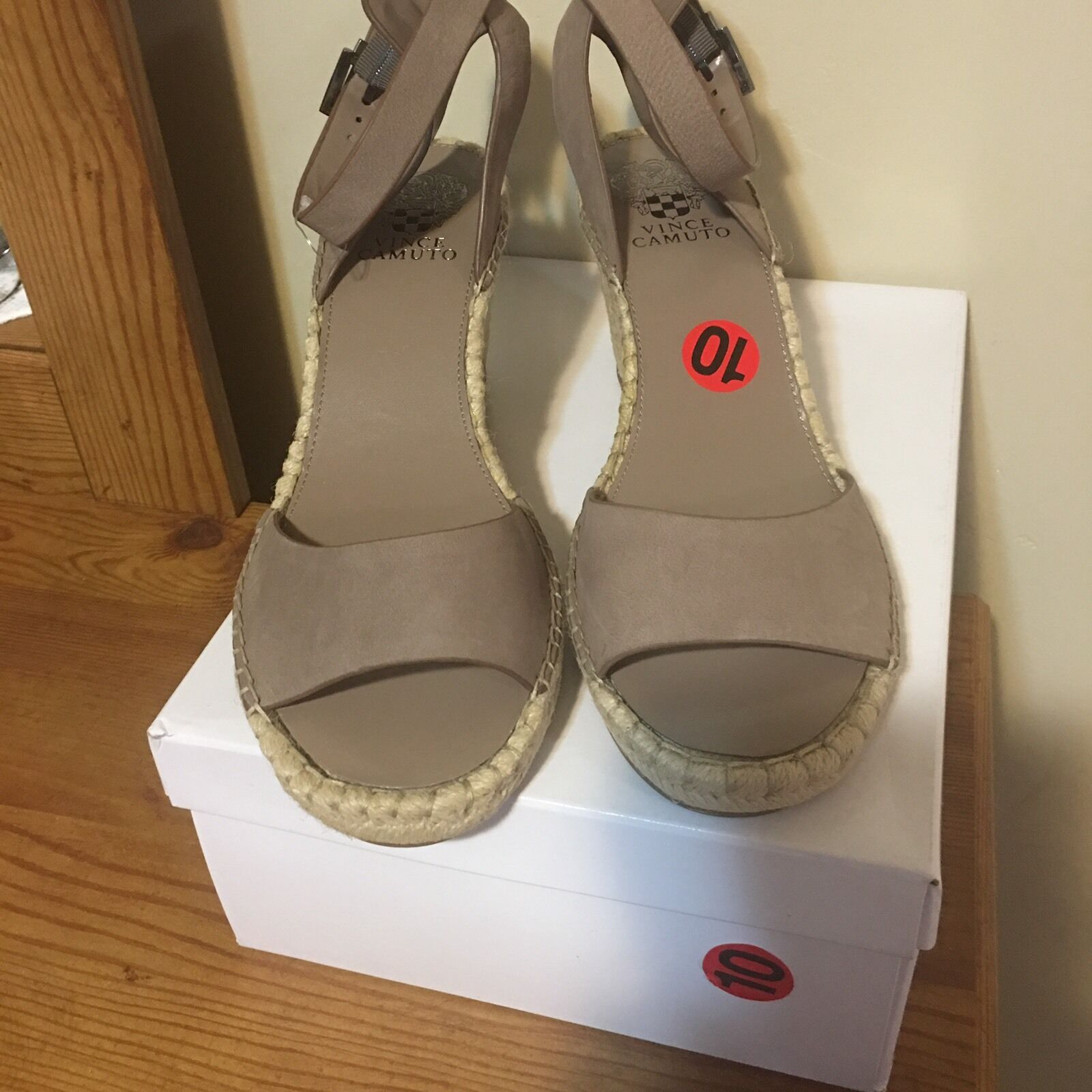Vince Camuto Tagger Espadrille Leather Wedge Open 10 Toe Taupe Sandal Heel 10 Open M 501f8f