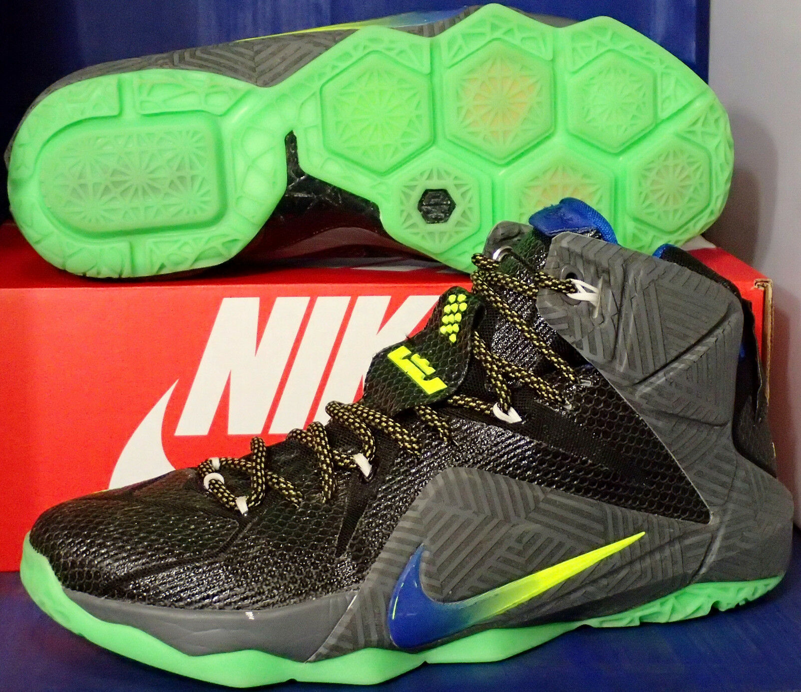 Nike Lebron XII 12 iD Black Grey Green SZ 10.5 ( 728709-983 )