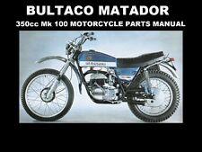 BULTACO MATADOR PARTS MANUAL 100pgs for MK 100 350 Motorcycle Repair & Service