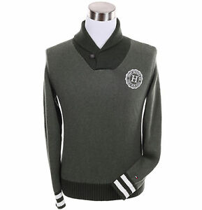 Tommy-Hilfiger-Men-Logo-Shawl-Neck-Collar-Long-Sleeve-Sweater-Free-0-Shipping