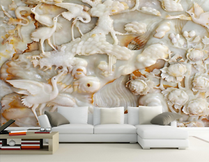 3D White Egrets Painted Paper Wall Print Wall Decal Wall Deco Indoor Murals