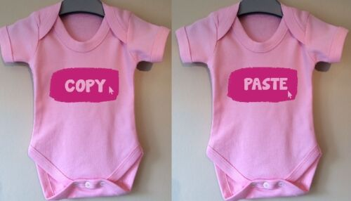 COPY AND PASTE TWINS BABY BODY GROW SUIT VEST TWIN FUNNY GIRL BOY GIFT IDEA