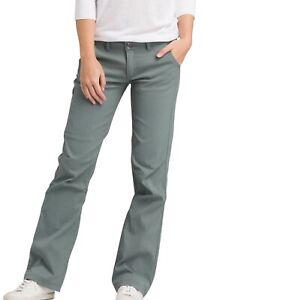 PRANA Women's HALLE Pants Adjustable Snap- Roll-Up Legs Gray/Green Sz.4