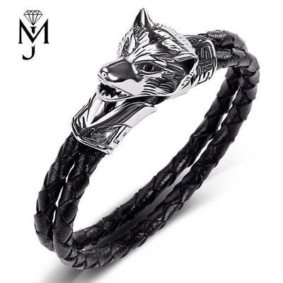 Viking Armband Wolf Fenris Armreif Wikinger Armspange Folkloreschmuck Kunstleder