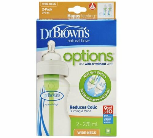 Dr Brown Natural Flow col Large Lot de 1//2//3//4 150 Ml 270 ml bébé biberons Set