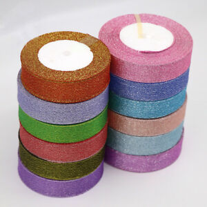 25-yards-Wire-Edge-Glitter-Ribbon-25mm-Wide-Wedding-Gifts-Craft-Party-Decoration