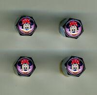 Minnie Mouse 4 Chrome Plated Brass Tire Valve Caps Car & Bike Minnie Mouse