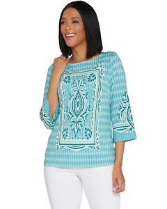 Bob-Mackie-Womens-Placed-Print-Knit-Pullover-Top-Large-Aqua-A305611