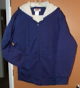 Animal Hooded Sherper lined Fleece Full Zip Jacket Hoodie in Blue in Size S,M