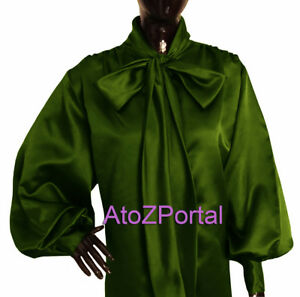 Women-Olive-Green-Satin-Vintage-style-long-sleeve-Bow-Blouse-Top-High-Neck-Shirt