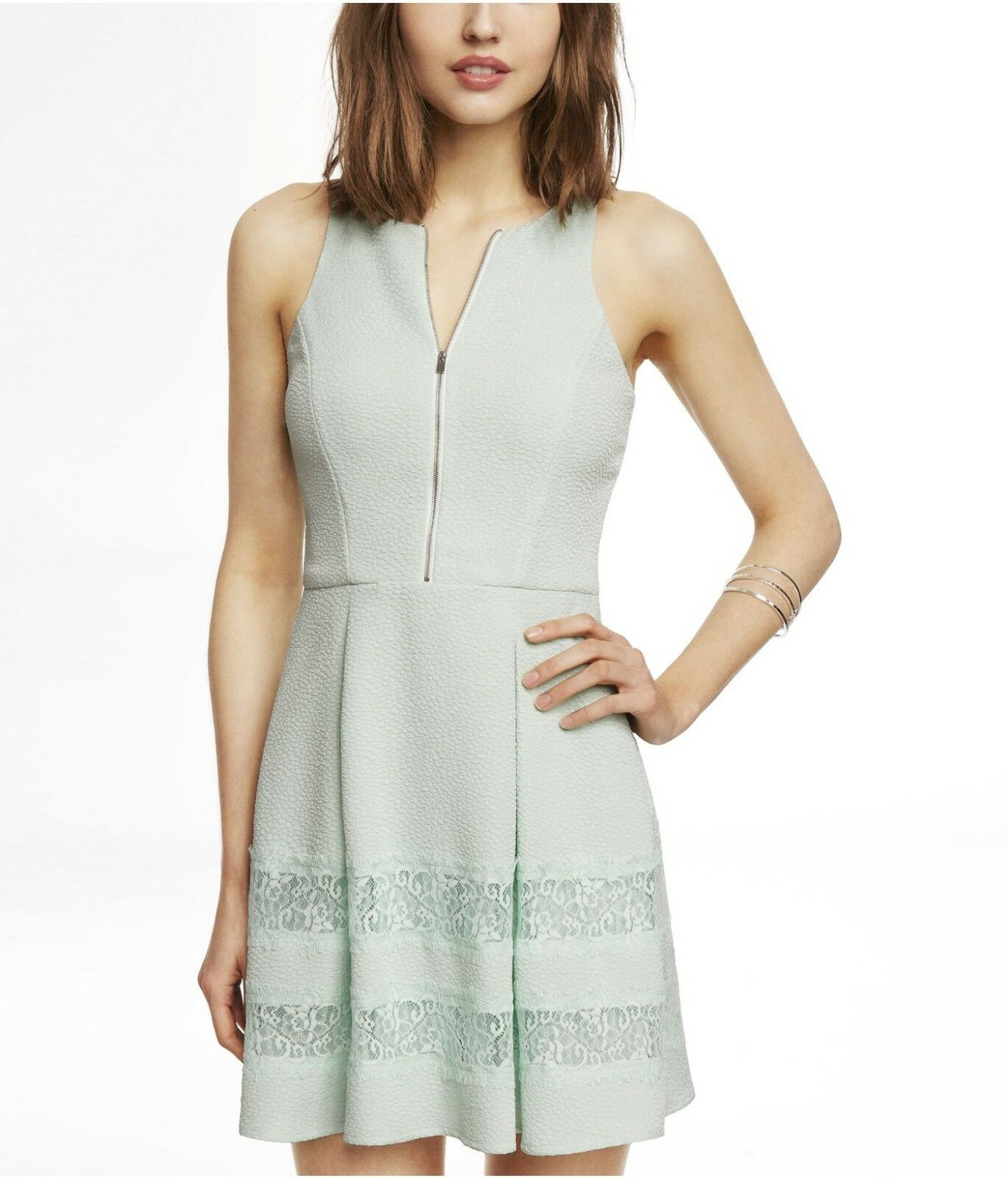 EXPRESS Women's Mint Zip Front Lace Insert Textured Fit and Flare Dress Size 6