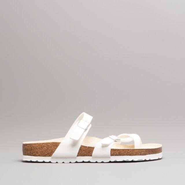 cc11a4763 Birkenstock MAYARI Ladies Womens Buckle Toe Strap Slip On Summer Sandals  White