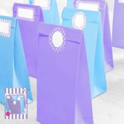 12 Paper Party Bags/6 Lavender/6 Light Blue/Cinderella Party/Frozen/Baby Showers