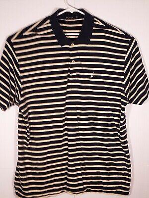Nautica Mens Short Sleeve Shirt Yellow with Blue Stripes