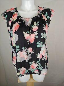 Lauren-Conrad-Black-Floral-Short-Sleeve-Top-Size-XL-Blouse-Pre-owned
