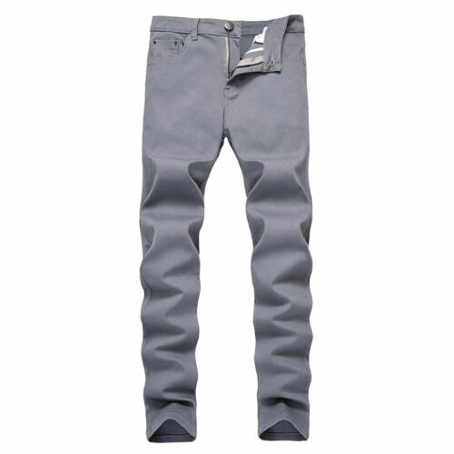 Newest Mens Slim Fit Jeans Stretch Straight Leg Denim Pants Work Casual Trousers