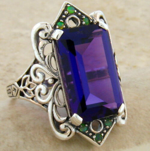 #465 LAB AMETHYST OPAL ANTIQUE VICTORIAN STYLE .925 STERLING SILVER RING 6 CT