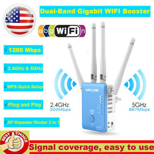 AC1200Mbps-WiFi-Repeater-Wireless-Extender-Dual-Band-Gigabit-Booster-Router-RJ45