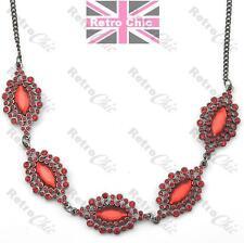 RED RHINESTONE crystal COLLAR NECKLACE long chain GUNMETAL BLACK f21 marquis
